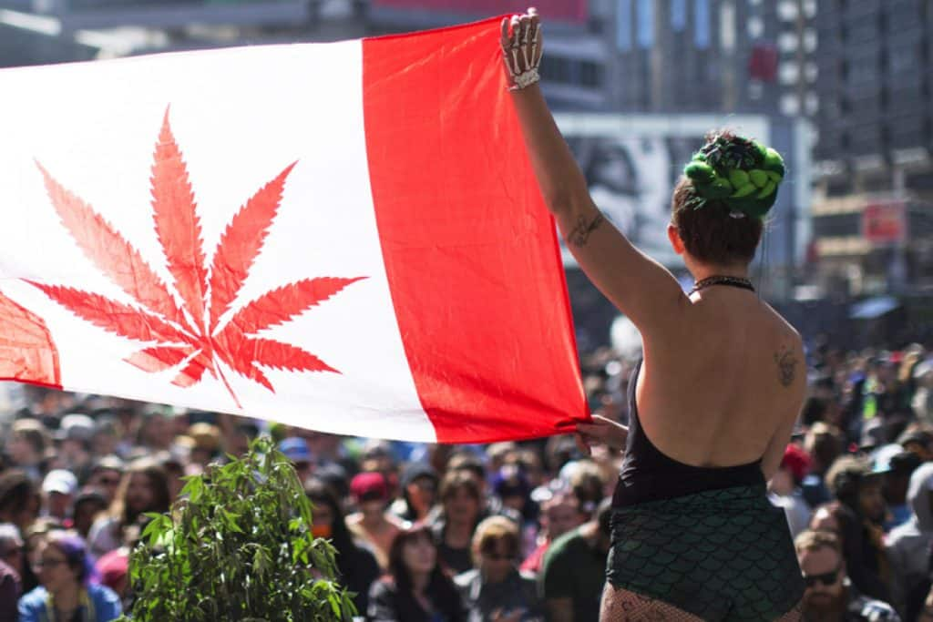 אישה נושאת את דגל קנדה